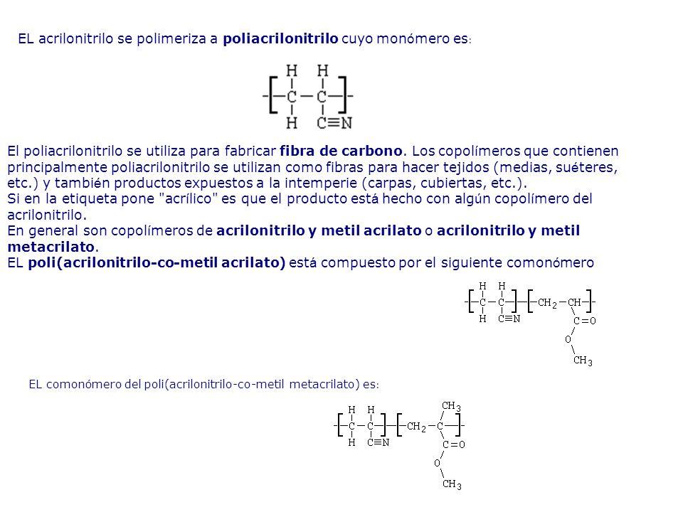 EL acrilonitrilo se polimeriza a poliacrilonitrilo cuyo monómero es: