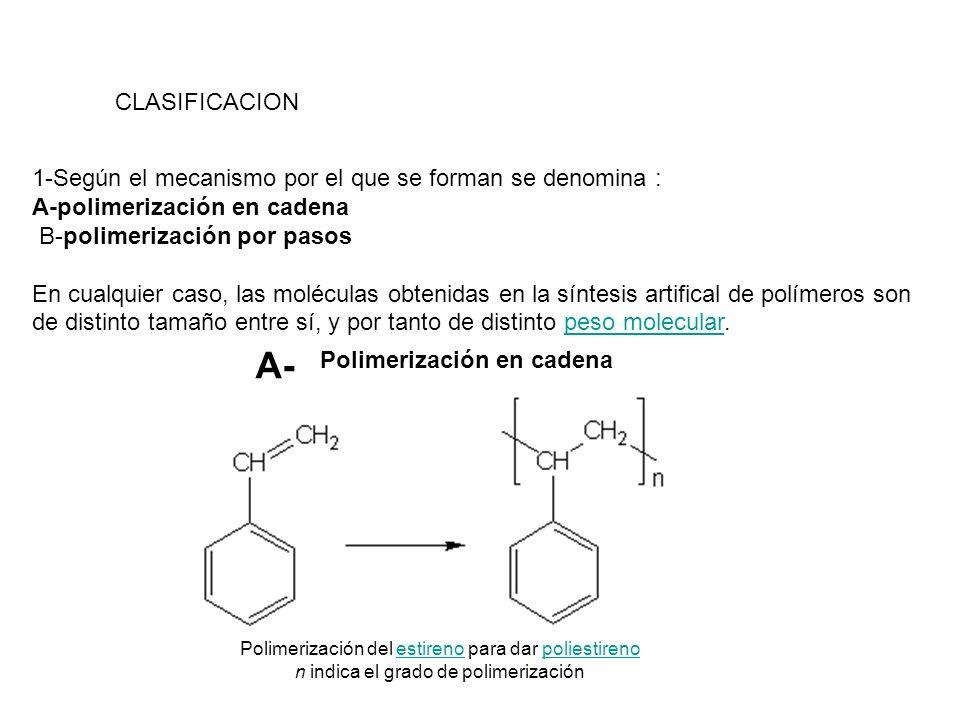 CLASIFICACION1-Según el mecanismo por el que se forman se denomina : A-polimerización en cadena. B-polimerización por pasos.