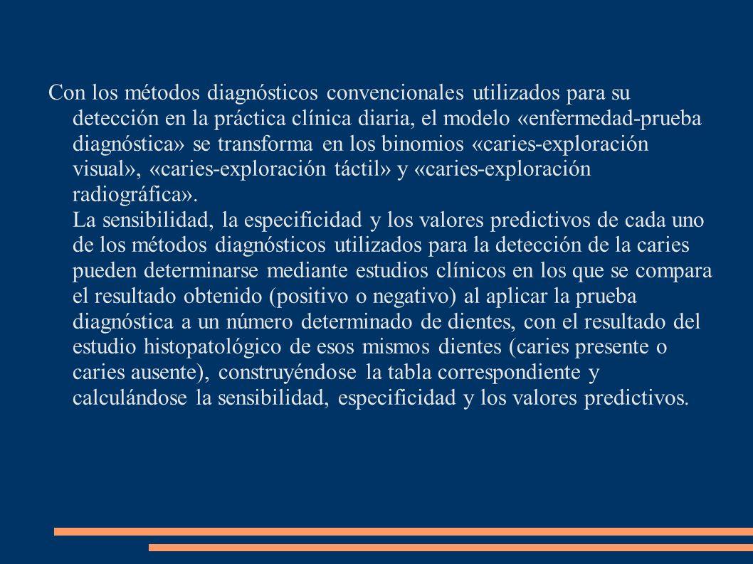 Con los métodos diagnósticos convencionales utilizados para su detección en la práctica clínica diaria, el modelo «enfermedad-prueba diagnóstica» se transforma en los binomios «caries-exploración visual», «caries-exploración táctil» y «caries-exploración radiográfica». La sensibilidad, la especificidad y los valores predictivos de cada uno de los métodos diagnósticos utilizados para la detección de la caries pueden determinarse mediante estudios clínicos en los que se compara el resultado obtenido (positivo o negativo) al aplicar la prueba diagnóstica a un número determinado de dientes, con el resultado del estudio histopatológico de esos mismos dientes (caries presente o caries ausente), construyéndose la tabla correspondiente y calculándose la sensibilidad, especificidad y los valores predictivos.