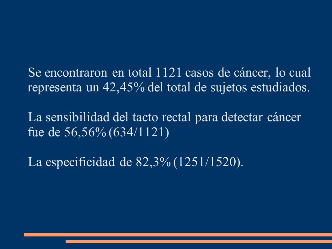 Se encontraron en total 1121 casos de cáncer, lo cual representa un 42,45% del total de sujetos estudiados.
