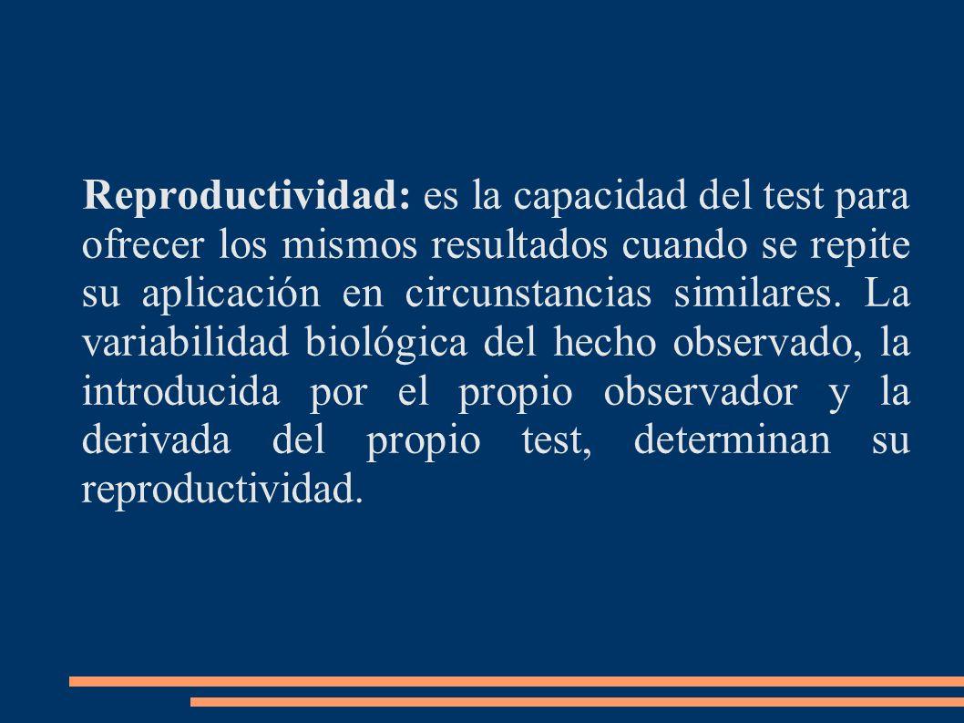 Reproductividad: es la capacidad del test para ofrecer los mismos resultados cuando se repite su aplicación en circunstancias similares.