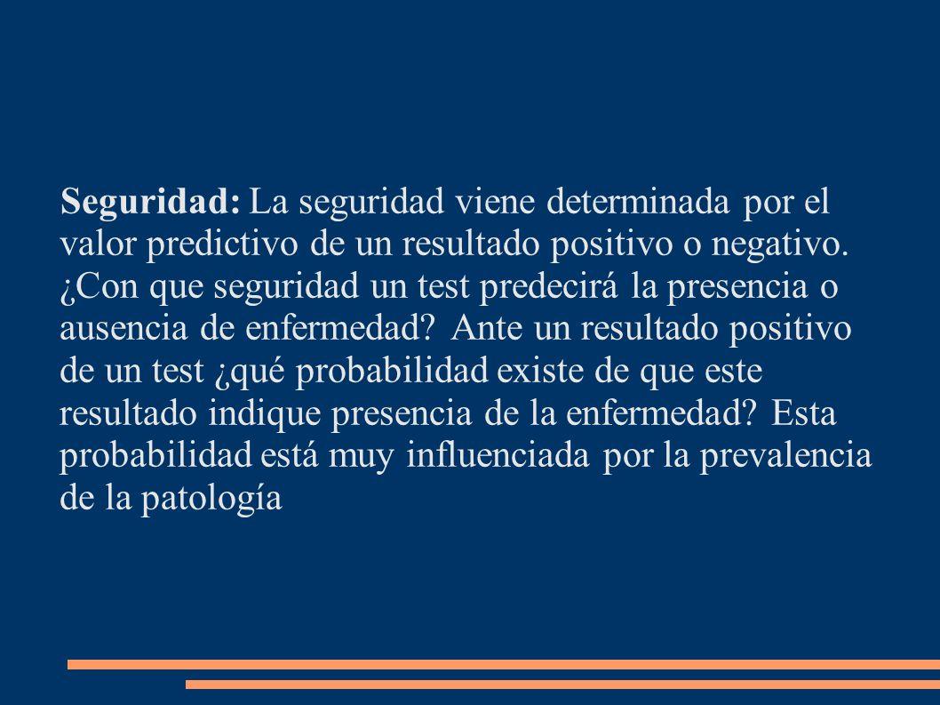 Seguridad: La seguridad viene determinada por el valor predictivo de un resultado positivo o negativo.