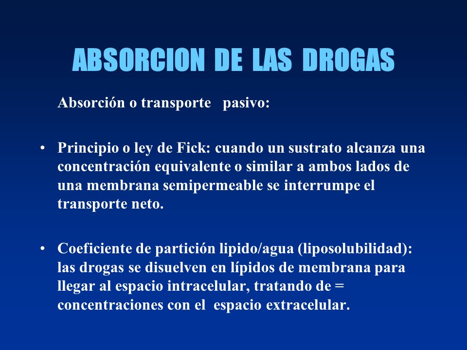ABSORCION DE LAS DROGAS