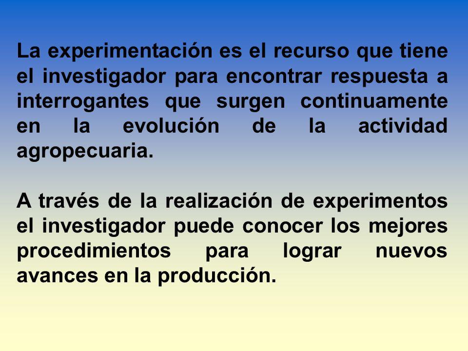 La experimentación es el recurso que tiene el investigador para encontrar respuesta a interrogantes que surgen continuamente en la evolución de la actividad agropecuaria.