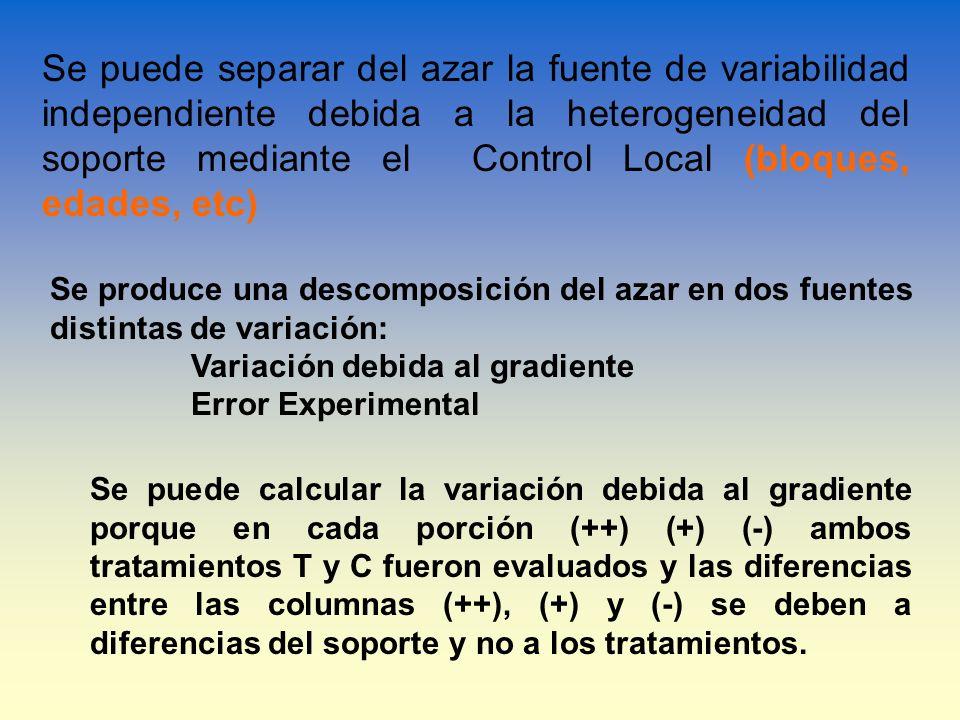 Se puede separar del azar la fuente de variabilidad independiente debida a la heterogeneidad del soporte mediante el Control Local (bloques, edades, etc)