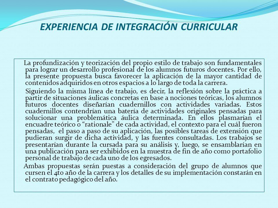 EXPERIENCIA DE INTEGRACIÓN CURRICULAR