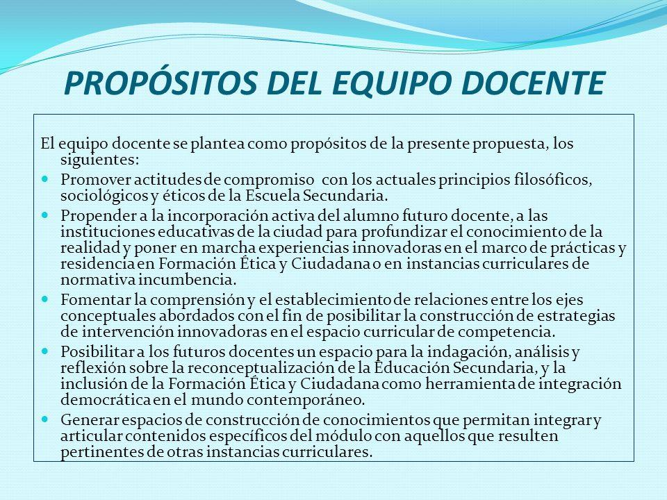 PROPÓSITOS DEL EQUIPO DOCENTE