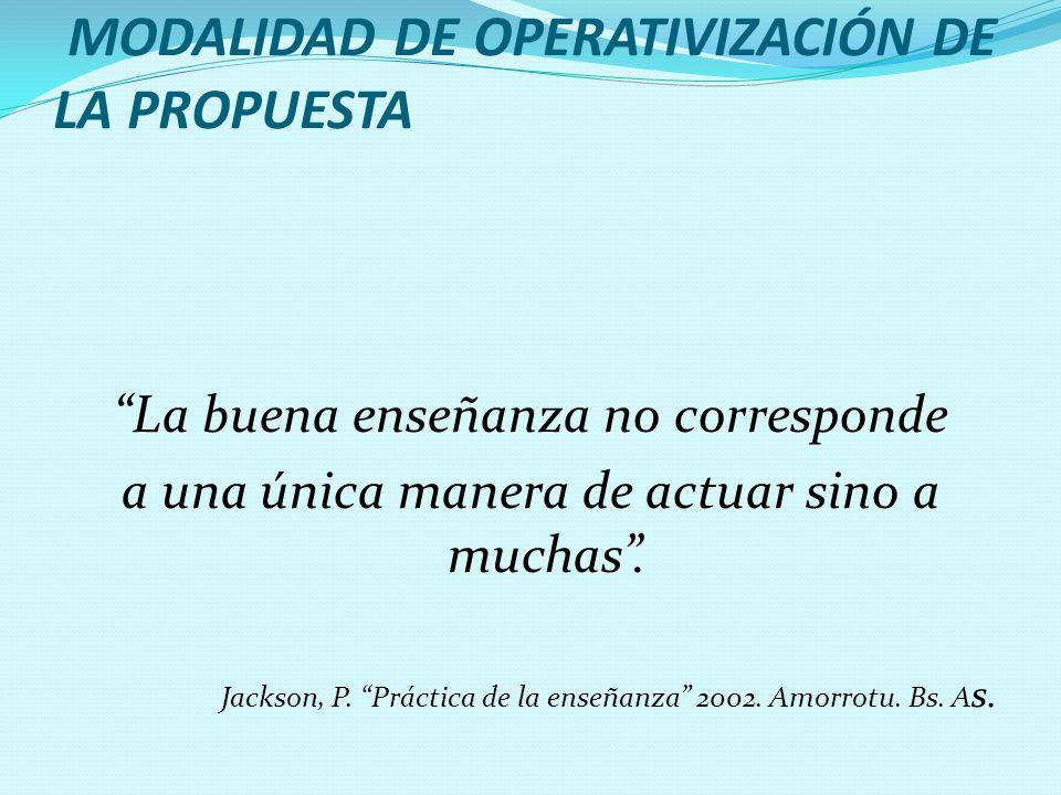 MODALIDAD DE OPERATIVIZACIÓN DE LA PROPUESTA