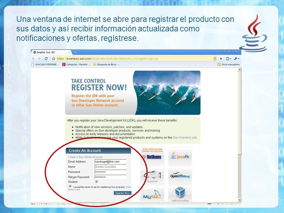 Una ventana de internet se abre para registrar el producto con sus datos y así recibir información actualizada como notificaciones y ofertas, regístrese.