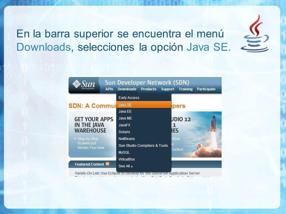 En la barra superior se encuentra el menú Downloads, selecciones la opción Java SE.