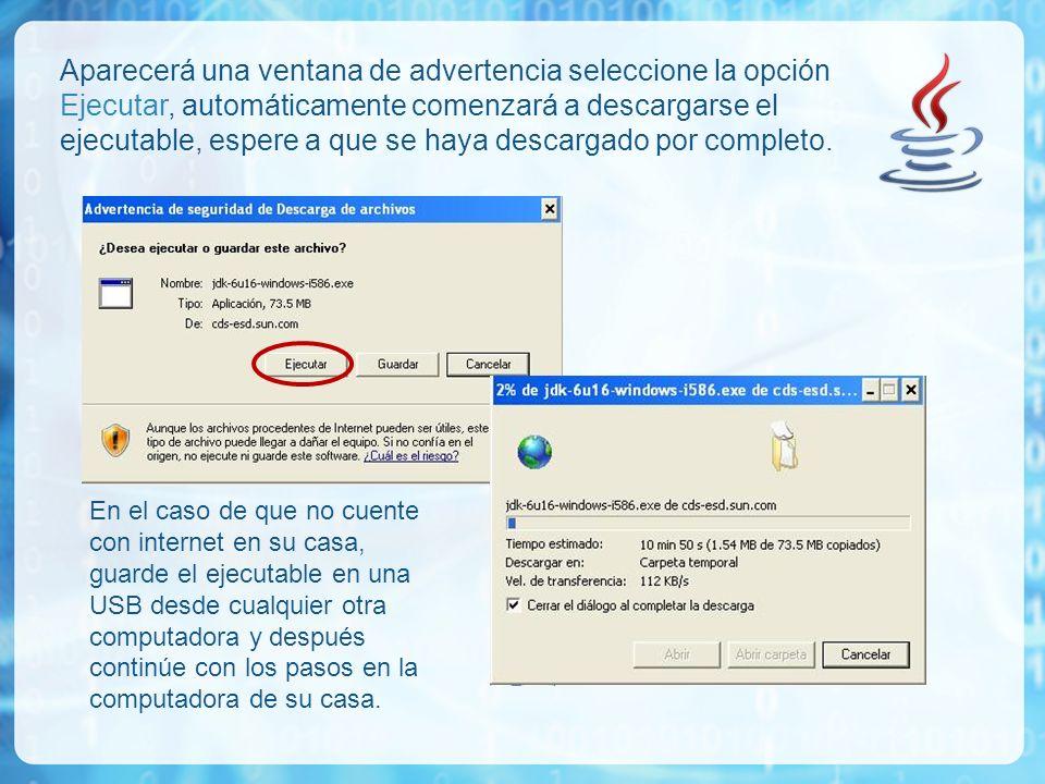 Aparecerá una ventana de advertencia seleccione la opción Ejecutar, automáticamente comenzará a descargarse el ejecutable, espere a que se haya descargado por completo.