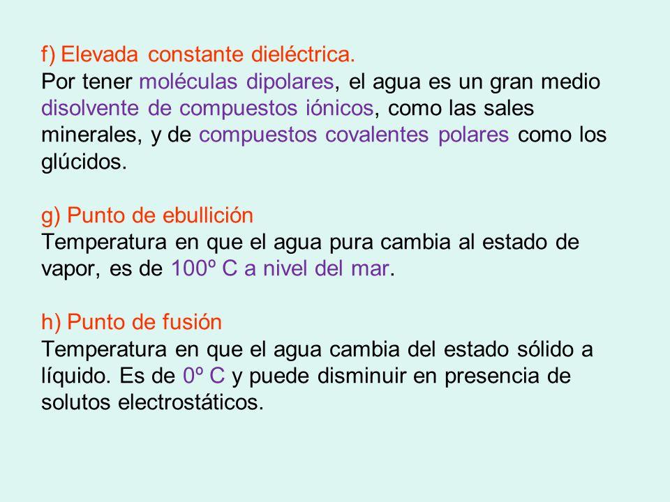 f) Elevada constante dieléctrica