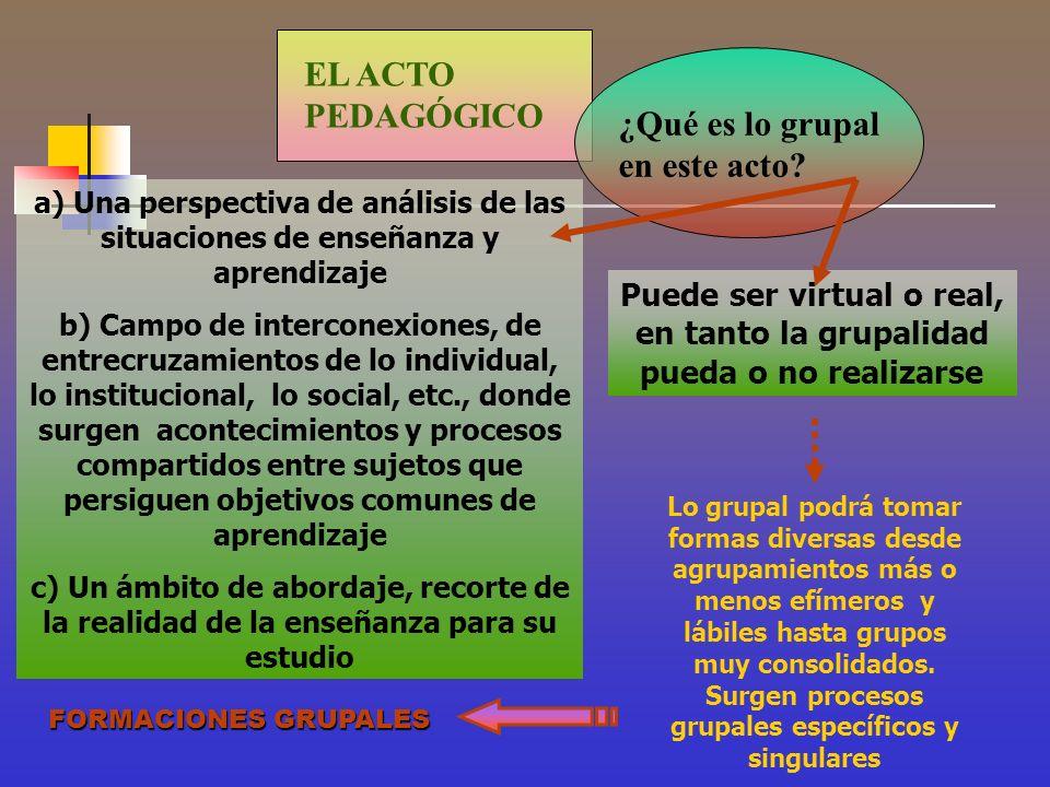 Puede ser virtual o real, en tanto la grupalidad pueda o no realizarse