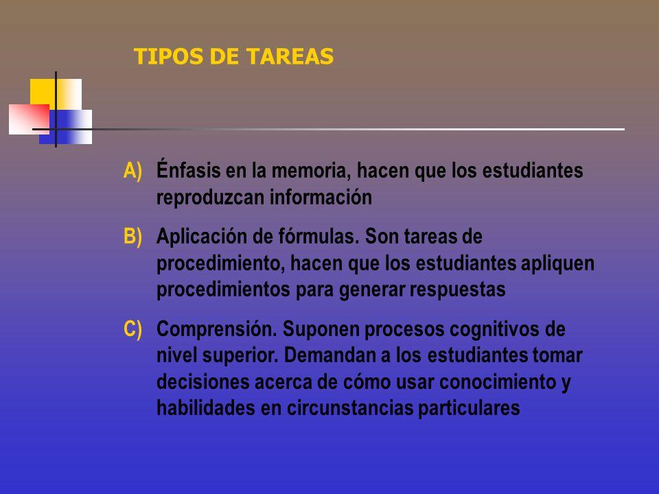 TIPOS DE TAREAS Énfasis en la memoria, hacen que los estudiantes reproduzcan información.