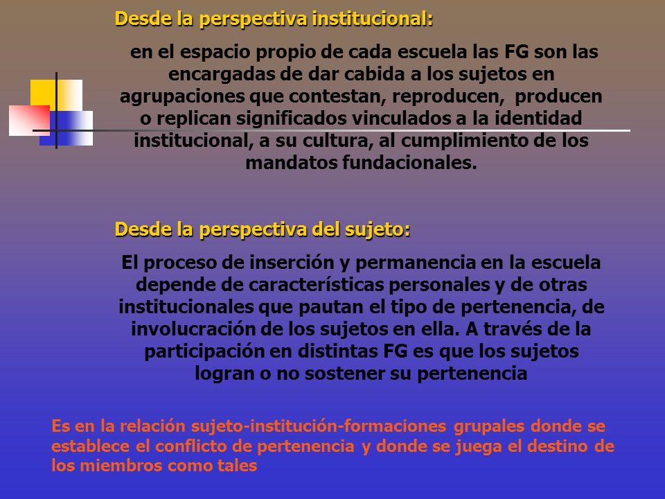 Desde la perspectiva institucional: