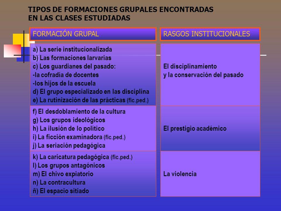 TIPOS DE FORMACIONES GRUPALES ENCONTRADAS