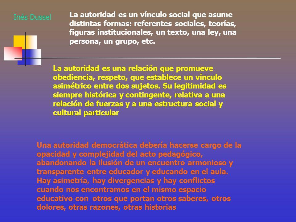 La autoridad es un vínculo social que asume distintas formas: referentes sociales, teorías, figuras institucionales, un texto, una ley, una persona, un grupo, etc.