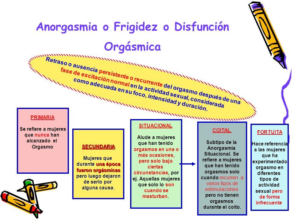 Anorgasmia o Frigidez o Disfunción Orgásmica