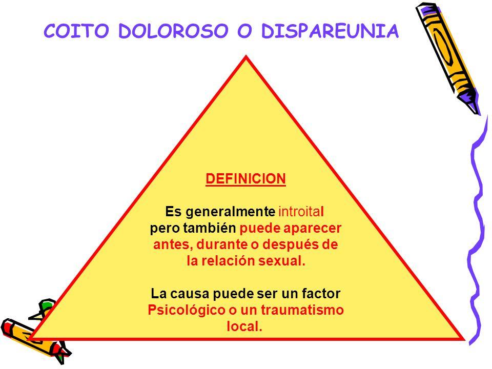 COITO DOLOROSO O DISPAREUNIA