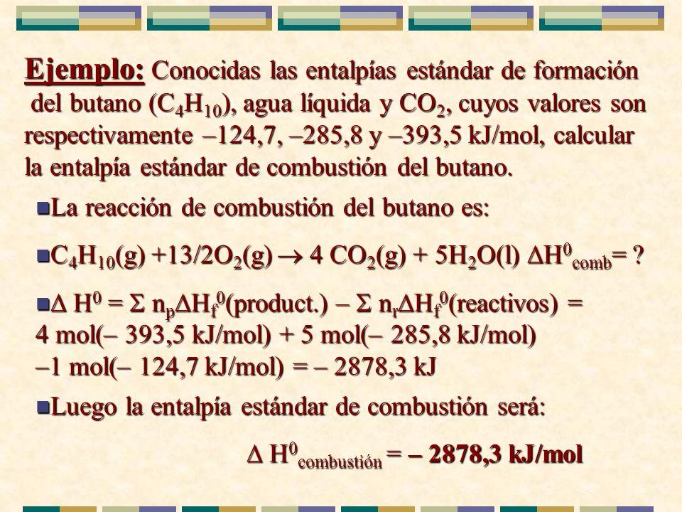 Ejemplo: Conocidas las entalpías estándar de formación del butano (C4H10), agua líquida y CO2, cuyos valores son respectivamente –124,7, –285,8 y –393,5 kJ/mol, calcular la entalpía estándar de combustión del butano.