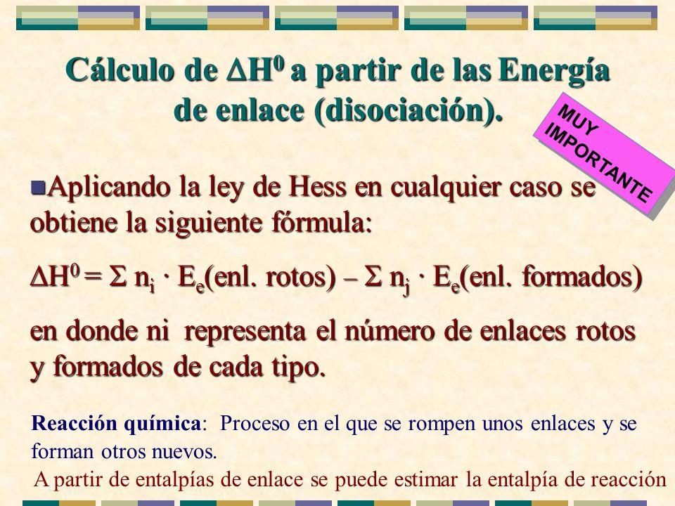 Cálculo de H0 a partir de las Energía de enlace (disociación).