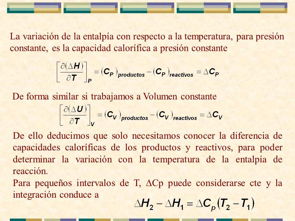 La variación de la entalpía con respecto a la temperatura, para presión constante, es la capacidad calorífica a presión constante