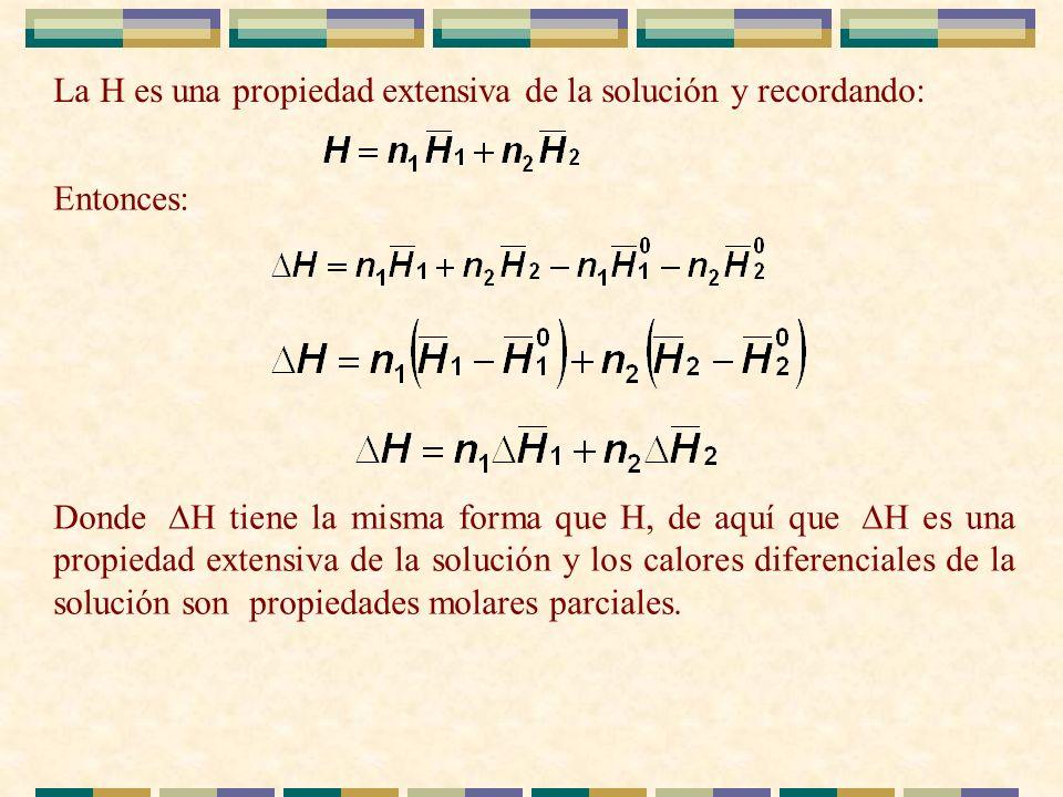 La H es una propiedad extensiva de la solución y recordando: