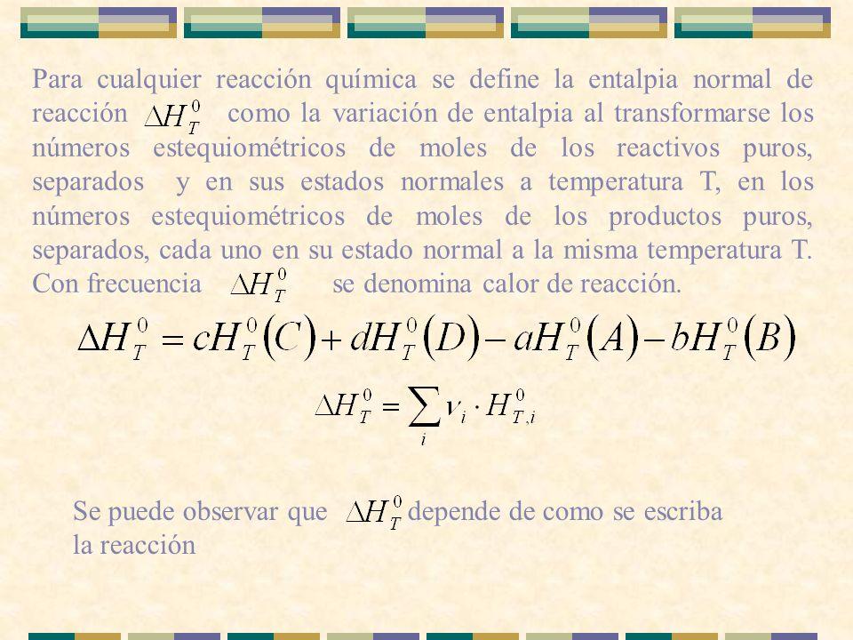 Para cualquier reacción química se define la entalpia normal de reacción como la variación de entalpia al transformarse los números estequiométricos de moles de los reactivos puros, separados y en sus estados normales a temperatura T, en los números estequiométricos de moles de los productos puros, separados, cada uno en su estado normal a la misma temperatura T. Con frecuencia se denomina calor de reacción.