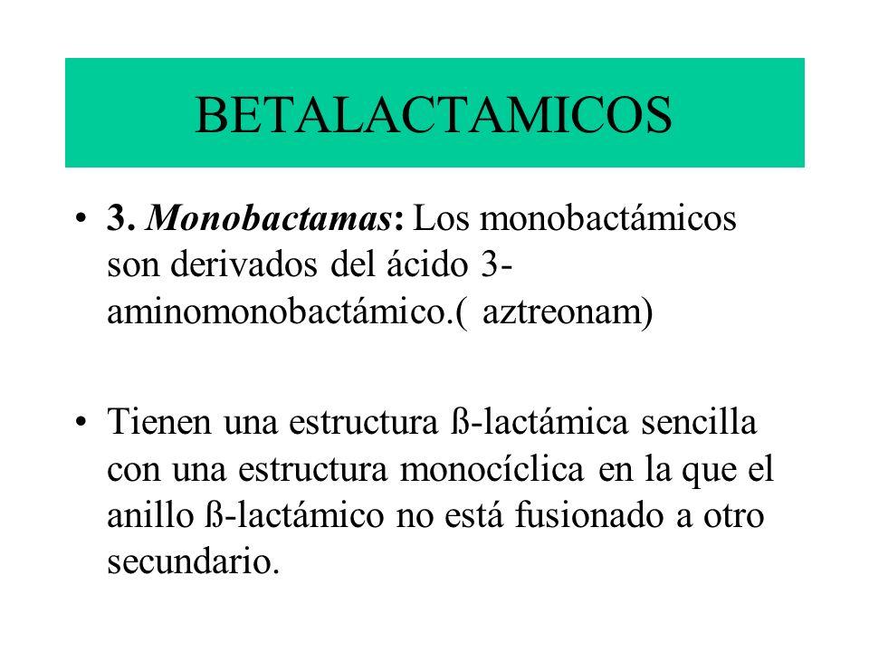 BETALACTAMICOS3. Monobactamas: Los monobactámicos son derivados del ácido 3- aminomonobactámico.( aztreonam)