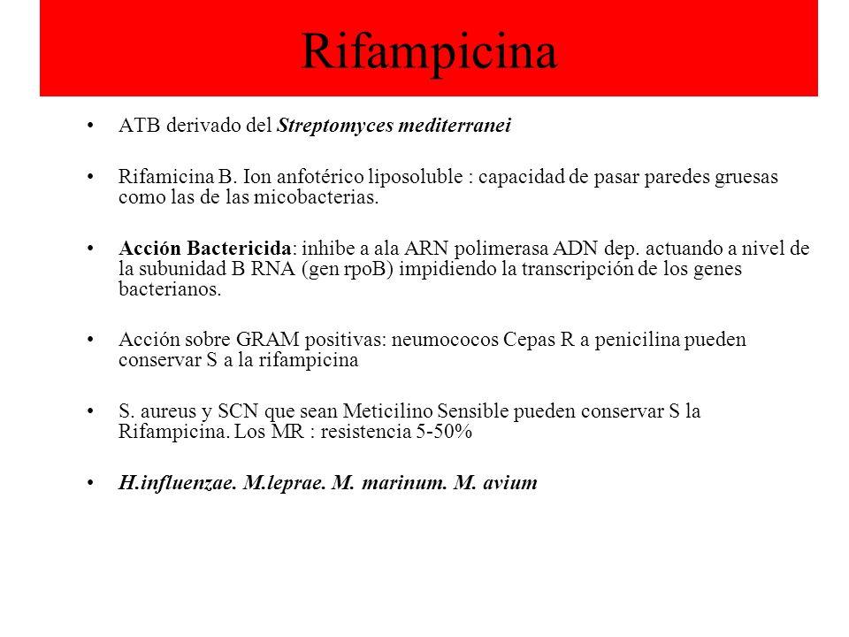 Rifampicina ATB derivado del Streptomyces mediterranei