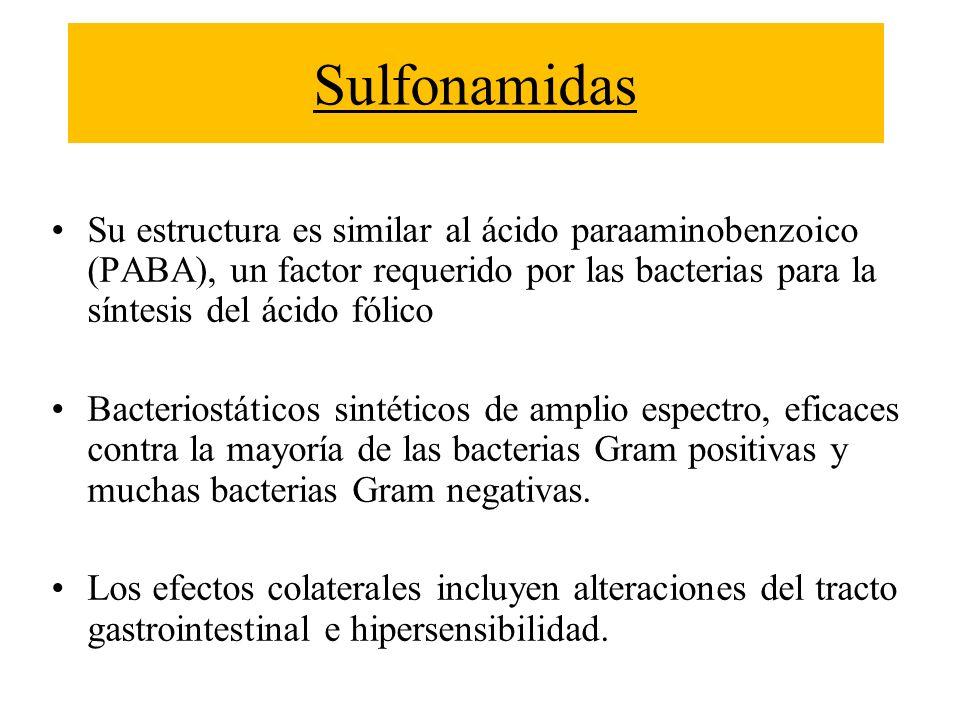 SulfonamidasSu estructura es similar al ácido paraaminobenzoico (PABA), un factor requerido por las bacterias para la síntesis del ácido fólico.