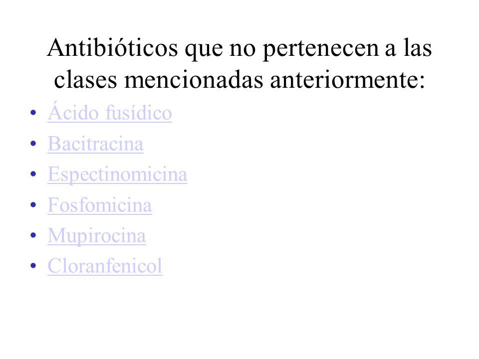 Antibióticos que no pertenecen a las clases mencionadas anteriormente: