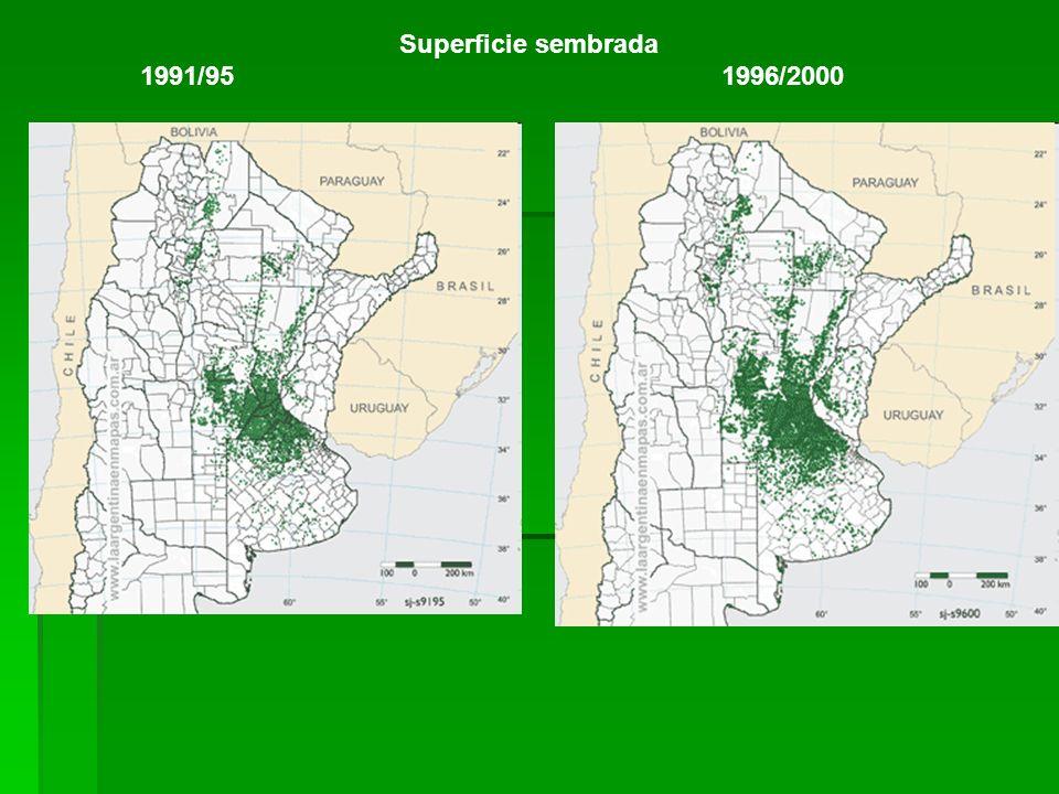 Superficie sembrada 1991/95 1996/2000.
