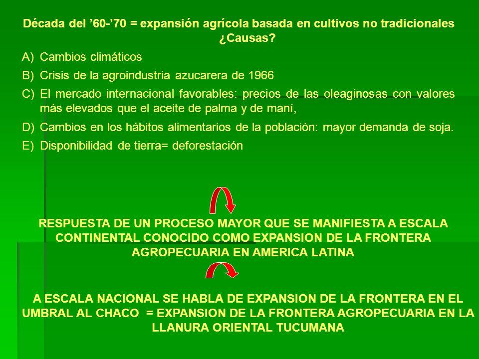 Década del '60-'70 = expansión agrícola basada en cultivos no tradicionales ¿Causas