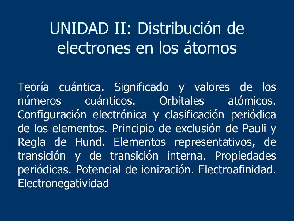 UNIDAD II: Distribución de electrones en los átomos