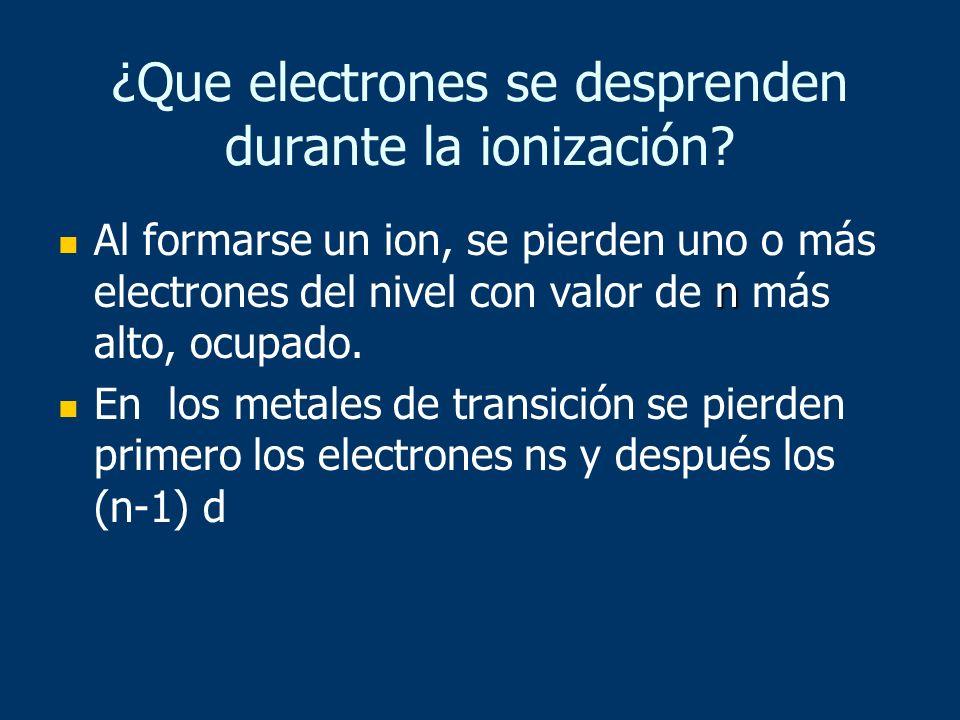 ¿Que electrones se desprenden durante la ionización
