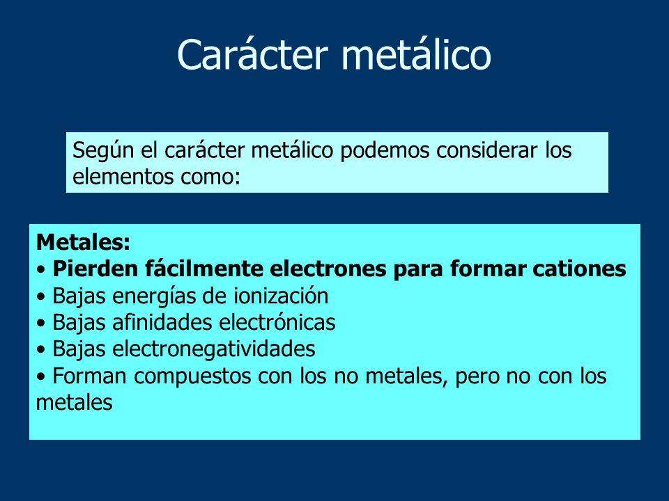 Carácter metálico Según el carácter metálico podemos considerar los elementos como: Metales: • Pierden fácilmente electrones para formar cationes.