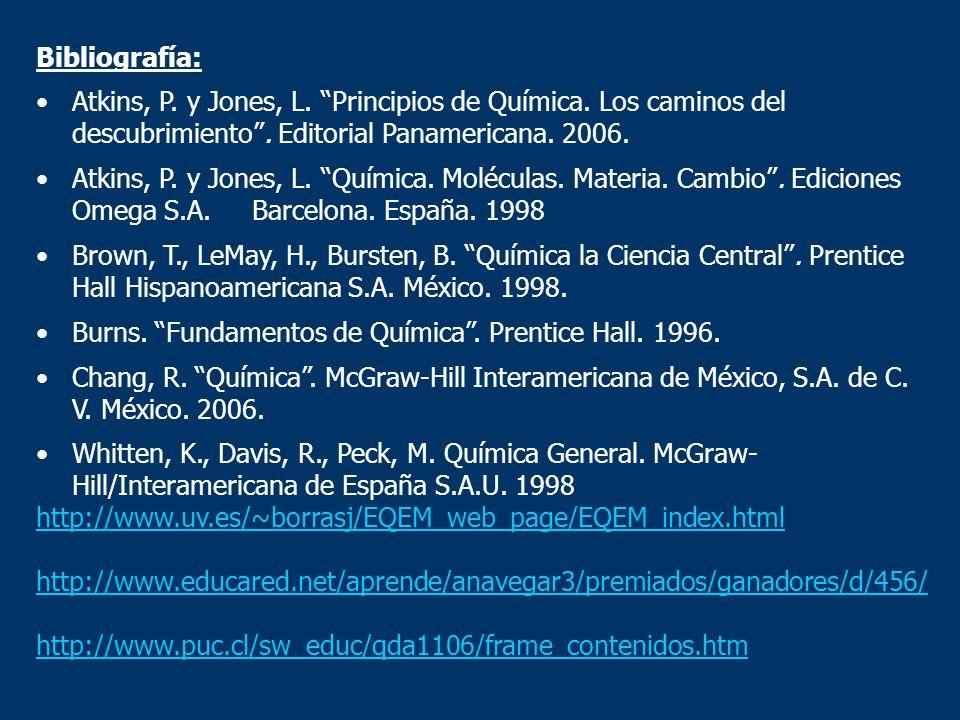 Bibliografía: Atkins, P. y Jones, L. Principios de Química. Los caminos del descubrimiento . Editorial Panamericana. 2006.
