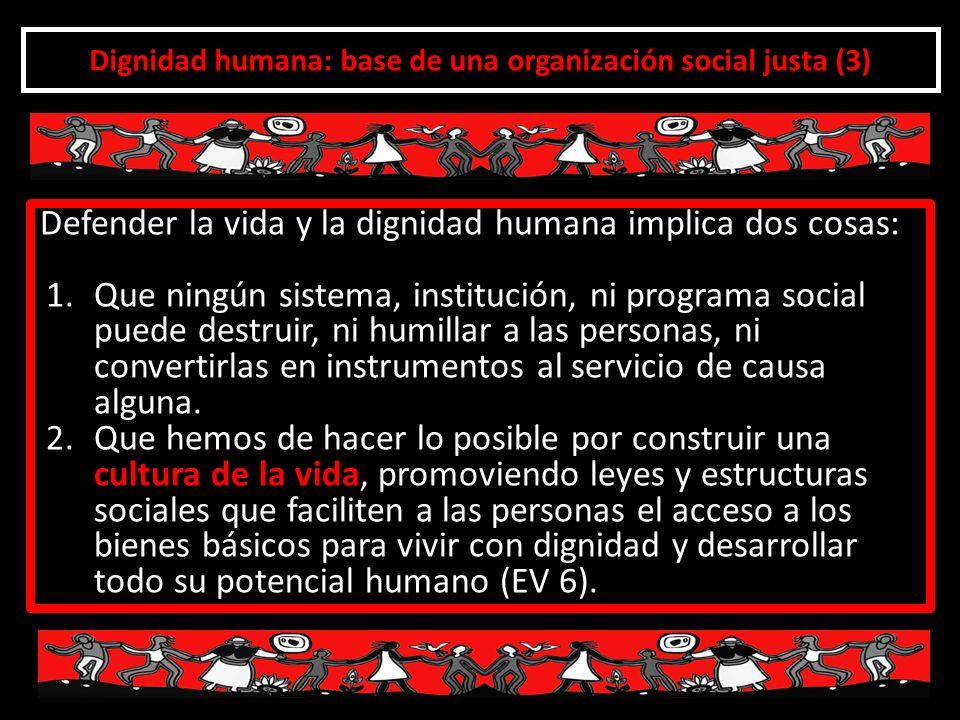 Dignidad humana: base de una organización social justa (3)