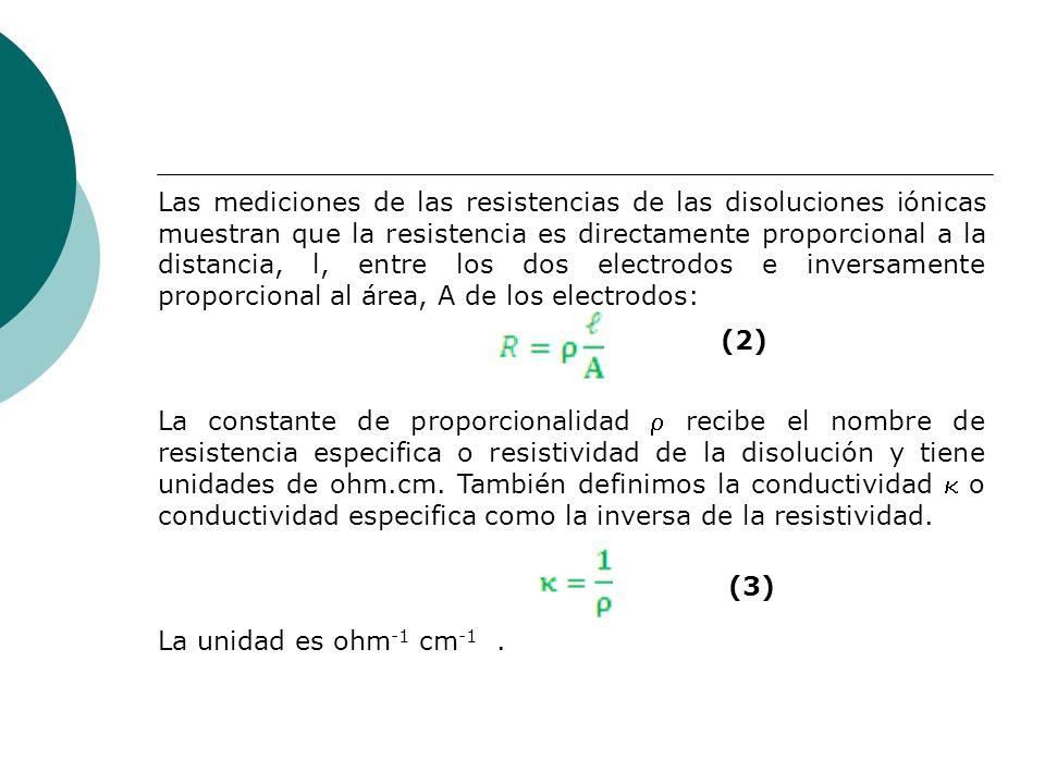 Las mediciones de las resistencias de las disoluciones iónicas muestran que la resistencia es directamente proporcional a la distancia, l, entre los dos electrodos e inversamente proporcional al área, A de los electrodos: