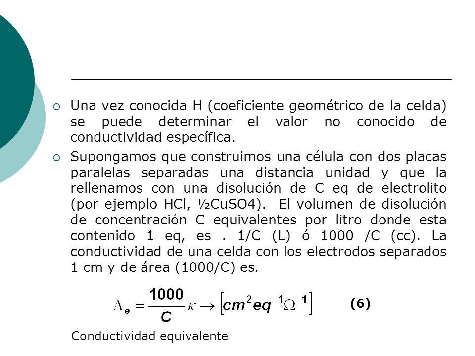 Una vez conocida H (coeficiente geométrico de la celda) se puede determinar el valor no conocido de conductividad específica.