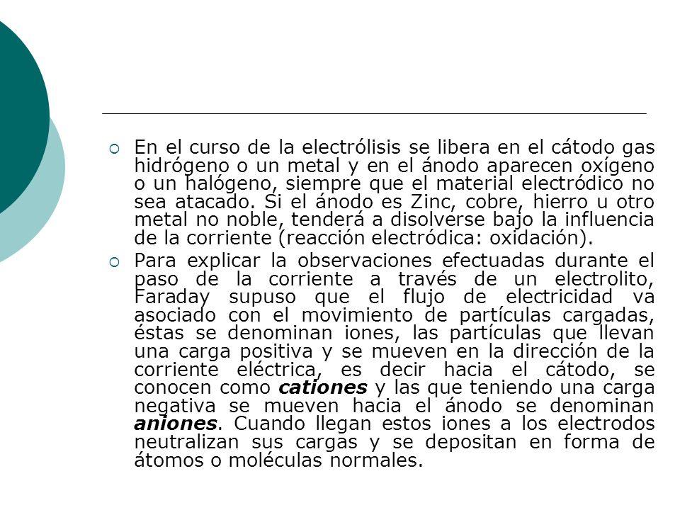 En el curso de la electrólisis se libera en el cátodo gas hidrógeno o un metal y en el ánodo aparecen oxígeno o un halógeno, siempre que el material electródico no sea atacado. Si el ánodo es Zinc, cobre, hierro u otro metal no noble, tenderá a disolverse bajo la influencia de la corriente (reacción electródica: oxidación).