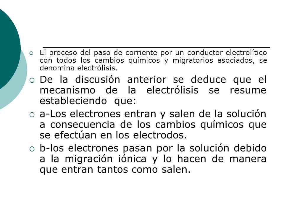 El proceso del paso de corriente por un conductor electrolítico con todos los cambios químicos y migratorios asociados, se denomina electrólisis.