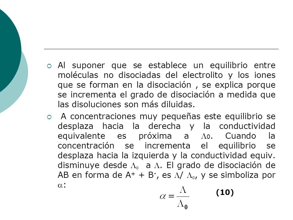 Al suponer que se establece un equilibrio entre moléculas no disociadas del electrolito y los iones que se forman en la disociación , se explica porque se incrementa el grado de disociación a medida que las disoluciones son más diluidas.