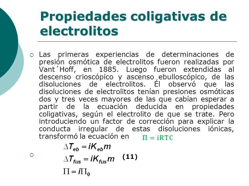 Propiedades coligativas de electrolitos