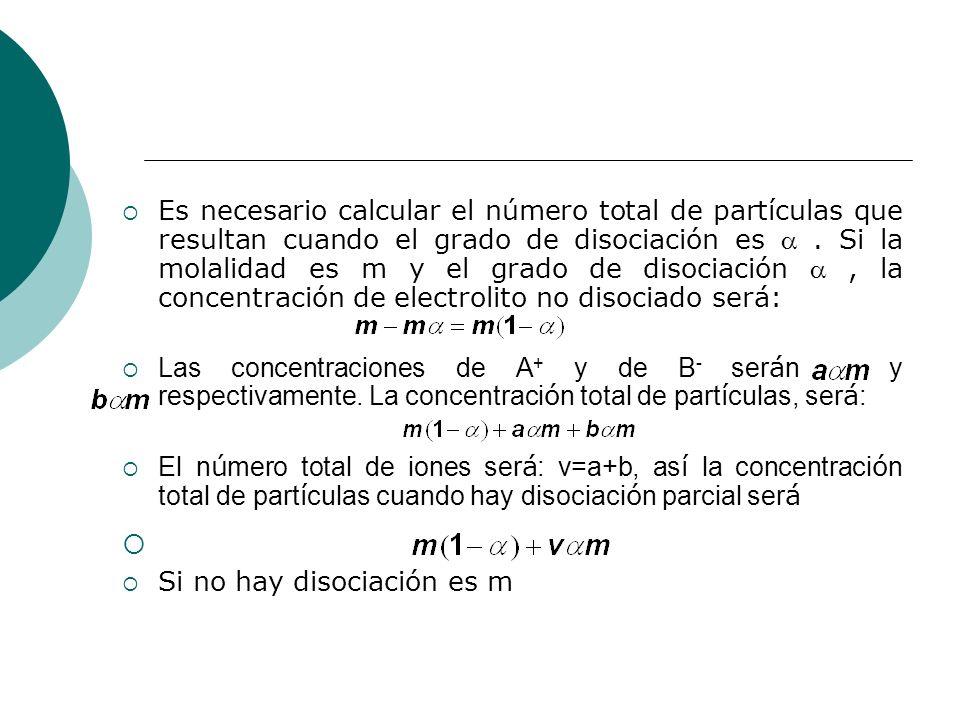 Es necesario calcular el número total de partículas que resultan cuando el grado de disociación es  . Si la molalidad es m y el grado de disociación  , la concentración de electrolito no disociado será: