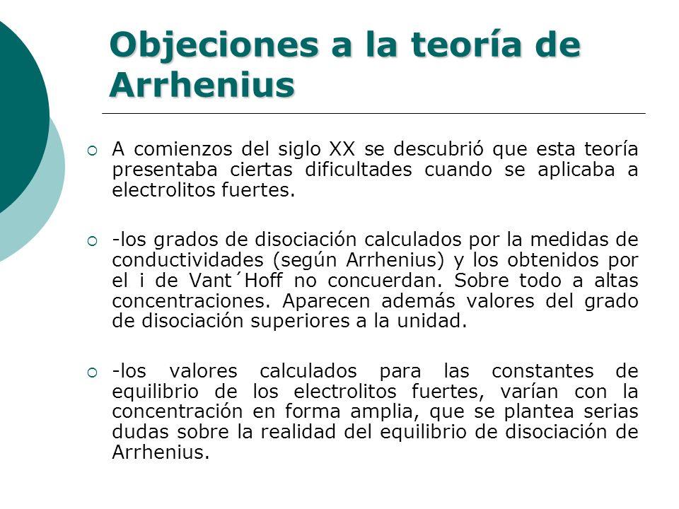 Objeciones a la teoría de Arrhenius
