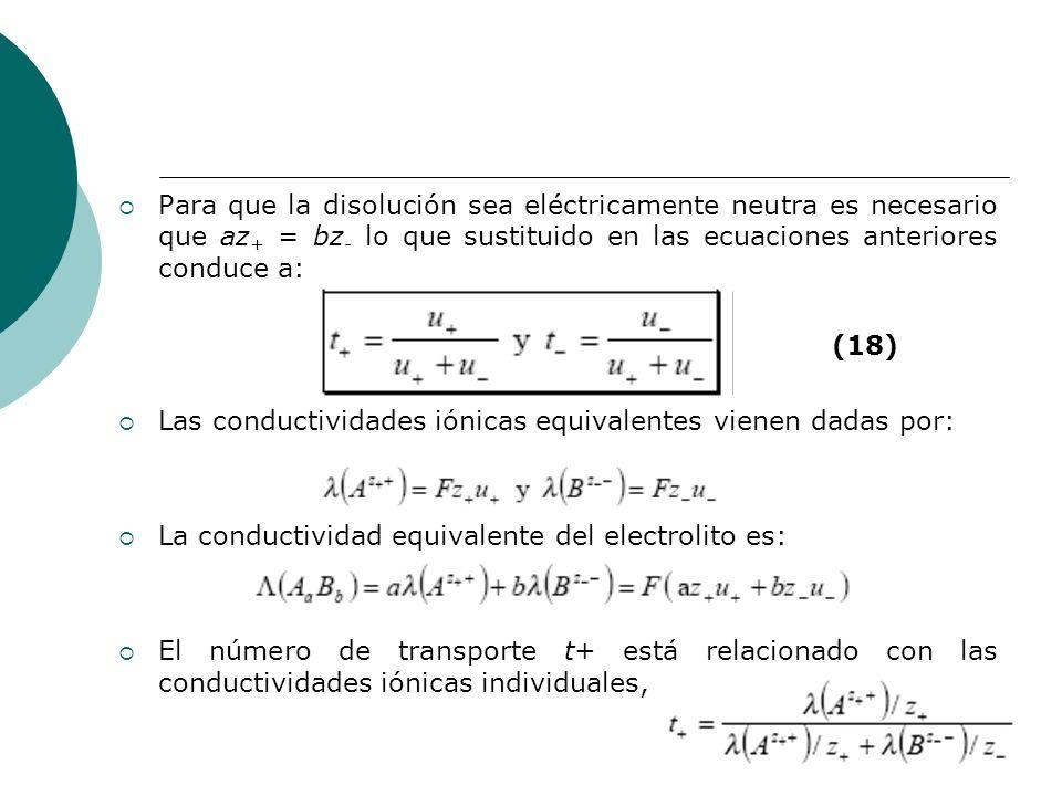 Para que la disolución sea eléctricamente neutra es necesario que az+ = bz- lo que sustituido en las ecuaciones anteriores conduce a: