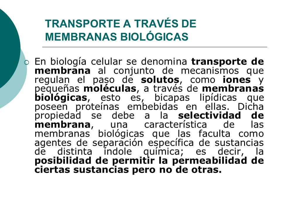 TRANSPORTE A TRAVÉS DE MEMBRANAS BIOLÓGICAS