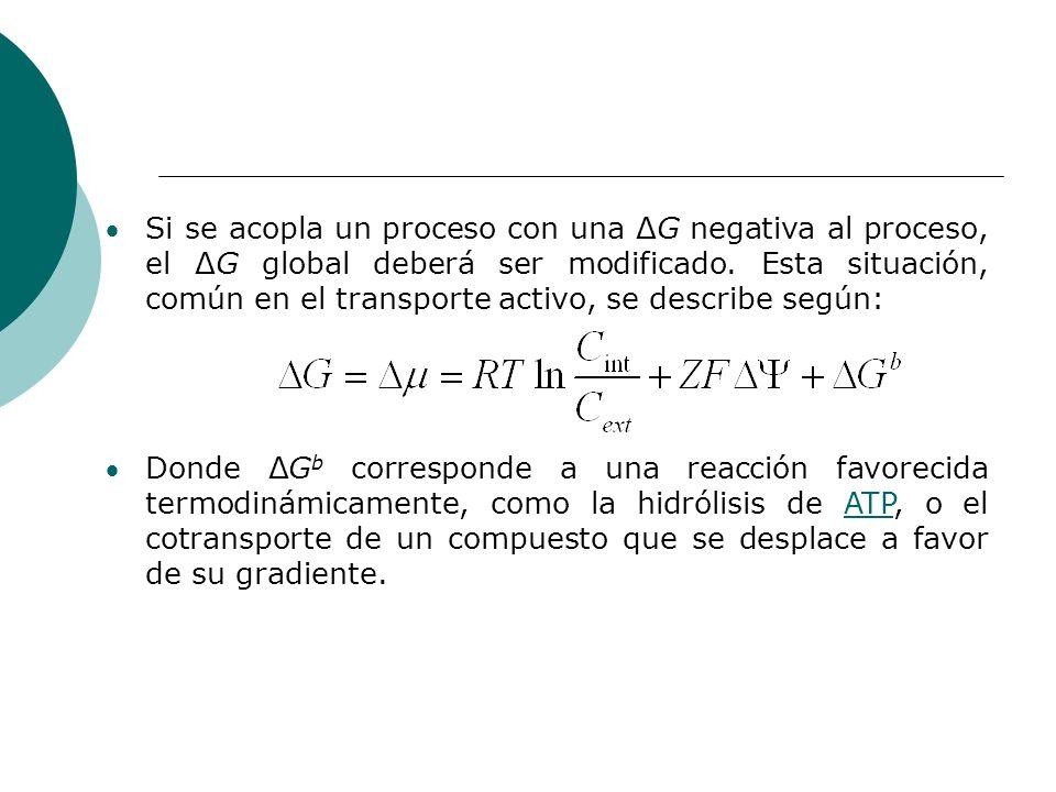 Si se acopla un proceso con una ΔG negativa al proceso, el ΔG global deberá ser modificado. Esta situación, común en el transporte activo, se describe según: